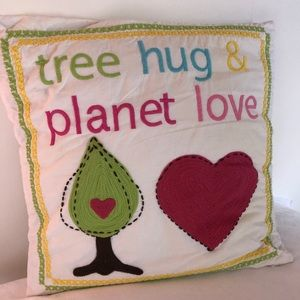PB Teen Tree Hug Planet Love Throw Pillow Cover